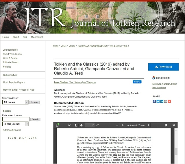Tolkien and Classics on JTR